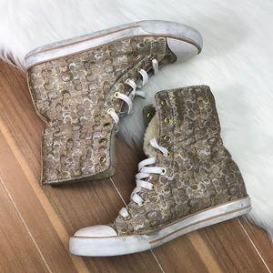 COACH BONNEY Shearling Sneakers Sz 7B